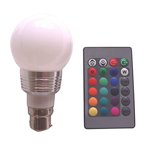 TOOGOO(R) B22 3W 16 Colors Changing RGB LED Mood Spot Light Lamp Bulb + IR Remote Control (Ir Fireplace Remote compare prices)