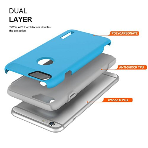 TOTU iPhone 6S Plus Case, Scratch Resistant Thin Armor Dual Layer Protective Hybrid Case Shock Absorbing Technology Case for Apple iPhone 6 plus (2014) and iPhone 6S Plus (2015) - Cyan Blue/Haze Gray