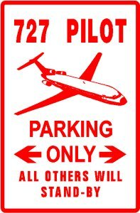 727 PILOT PARKING plane airline travel sign