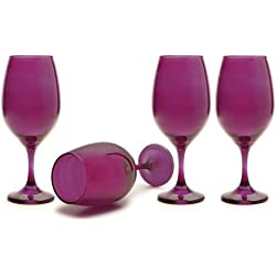 Circleware Moonlight Purple Glass Wine Glasses Set, 20 Ounce, Set of 4, Limited Edition Glassware Serveware Drinkware