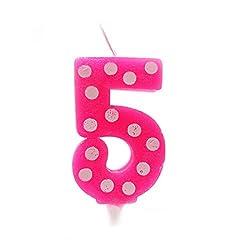 PrettyurParty 5 No Pink Polka Dot Candle