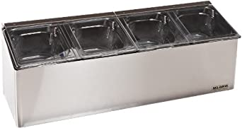 "San Jamar FP8244FL EZ-Chill Stainless Steel Self-Service Center with Flex Lid, 25-1/8"" Width x 8"" Height x 7-5/8"" Depth"