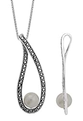 Boma Sterling Silver Pearl Teardrop Marcasite Necklace, 20 inches