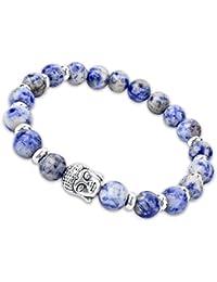 Young & Forever D'vine Spiritual Sodalite Natural Stone Buddha Beads (8-9mm) Yoga Bracelet Reiki Healing Stones...