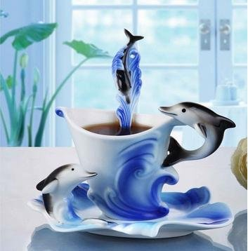 Elegant Handpainted Collectable Fine Arts China Porcelain Tea Cup And Saucer Coffee Cup Dolphins Theme Romantic Creative Present For Wedding/Christmas Three Sets (Bule)