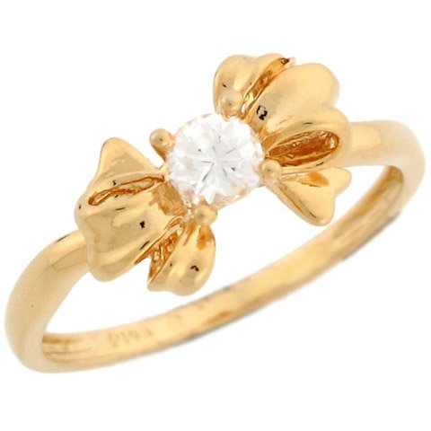 14k Yellow Gold Unique Bow Design Round CZ Solitaire Promise Ring