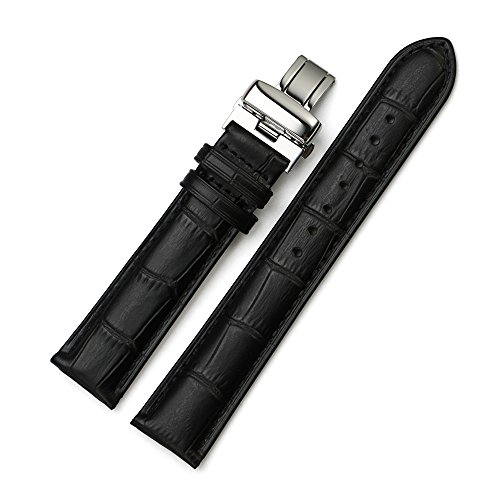 Istrap 19Mm Genuine Leather Deployant Watch Band Double Push Button Buckle - Black 19