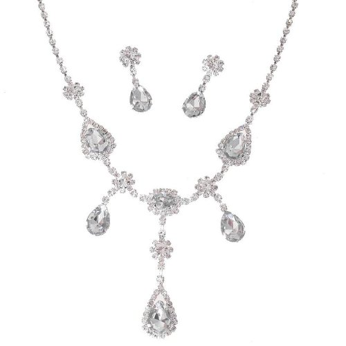 W34 - Sparkly Crystal Diamante Wedding Bridal Necklace And Earrings Jewellery Set