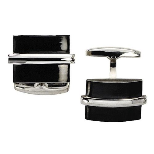 Men's Stainless Steel and Black Ion-Plated Cuff Links