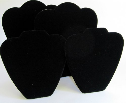 Set of 4 Plush Black Velvet Puff Necklace Display with Easel Stand
