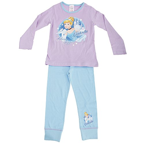 Disney Princess Cenerentola - Pigiama Maglietta Manica Lunga e Pantaloni - Bambina (7-8 anni) (Lilla/Blu)
