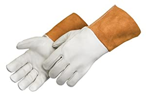 "Liberty 7124 Quality Grain Cowhide Leather MIG Welder Glove with 4-1/2"" Russet Split Leather Cuff, Large (Pack of 12) from Liberty Glove & Safety"