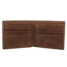 Texbo Men\'s Genuine Cowhide Leather Vintage Bifold Wallet