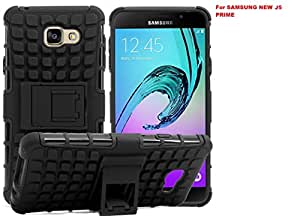 Samsung J5 Prime Hybrid Military Grade Armor Kick Stand Back Cover Case(BLACK)+FREE Tempered Flexible Curved Glass By Sun Tigers