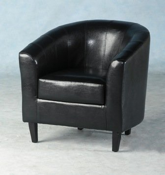 Faux Leather Tub Chair In Antique Black