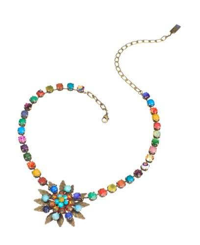 Necklace with Flower Pendant by Amaro Jewelry Studio from 'Vintage' Collection Set with Chinese Turquoise, Amazonite, Rhodonite, Blue Onyx, Pink Howlite, Yellow Jade, Green Jade, Amethyst and Swarovski Crystals