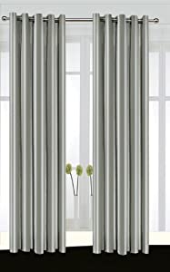 A Pair Of Eyelet Curtains Multi Coloured Stripy Design