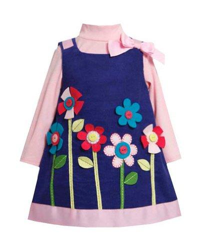 Bonnie Baby Baby-Girls Infant Royal Blue Pink Growing Flower Jumper Dress Set, 24 Months front-994301