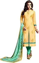 Fstore yellow embroidered cotton dress material