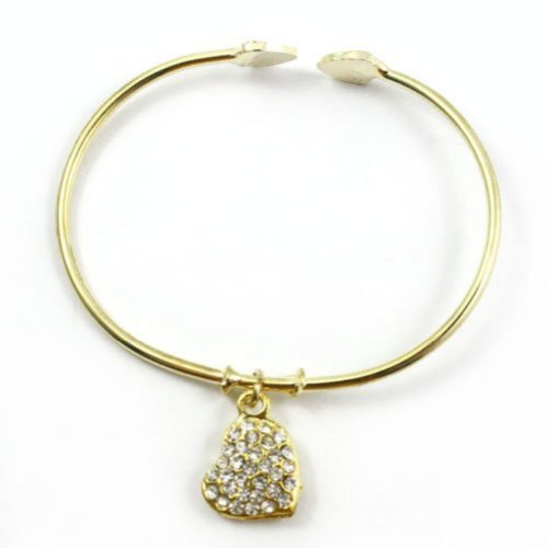Zehui Gold Plate Tone Crystal Heart Charm Open Bracelet Bangle Free Shipping