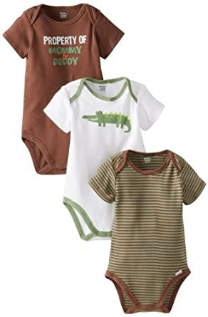 b4de32c99 Gerber Baby-Boys Newborn 3 Pack Short Sleeve Onesies Brand Bodysuits,  Alligator, 0-3 Months