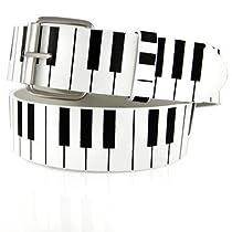 GENUINE LEATHER SNAP ON STUDDED WHITE PIANO BELT Medium (34-36)