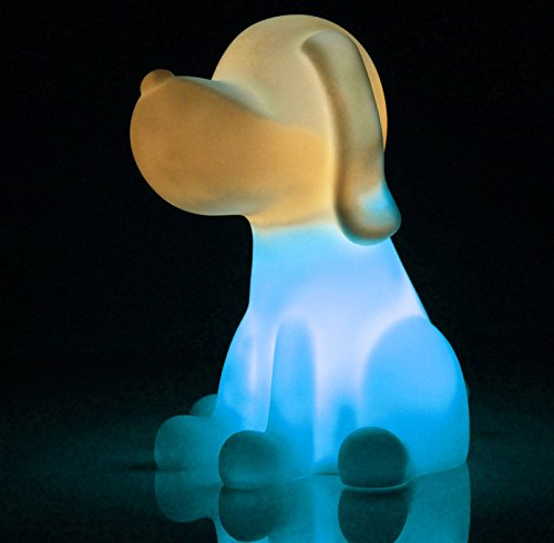 TZWNS Lovely Animal Dog Night Light Cordless Colorful Light Lamp 7 Colors Changeable LED Night Lamp Desk Table Lamp Suitable for Kids Children