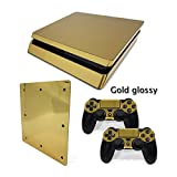Meijunter Gold Glossy Sticker Decal Skin For Playstation 4 PS4 Slim Console+Controllers