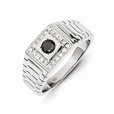 Solid 14k White Gold Black and White Diamond Men's Wedding Ring Band (1/2 cttw) (10mm)