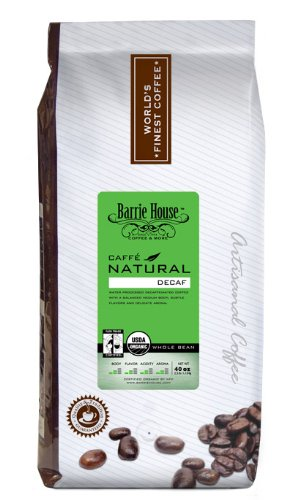 Barrie House Coffee Fair Trade Organic Caffé Natural Decaffeinated Classic Whole Bean 2.5 lb Bag