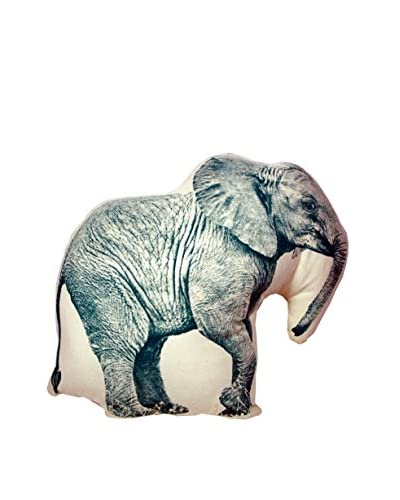 Areaware Mini Fauna Elephant Pillow, Blue/Beige