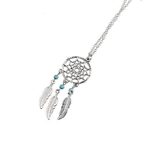 Dreamcatcher Pendant Necklace - Indian Craft Amulet Net Feather Beads - Silver Tone Alloy Charm & Chain by Boiling Glacier