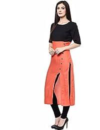 ShreeBalaji Design Designer Womens Cotton Princess Cut Dress (Western Wear) (SB982560_Free Size_ORANGE COLOR Kurti)
