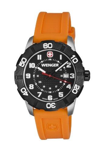 Wenger-Roadster-Black-Dial-Orange-Strap