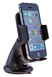 Smartpower-X HSFSP-101 Smart Fit Windshield Dashboard Car Mount Holder, Universal 360 Degree Rotational Car Phone Cradle for iPhone 6 (4.7) /5s/5c/4s, Galaxy S4/S3/S2, HTC One - Retail Packaging - Black