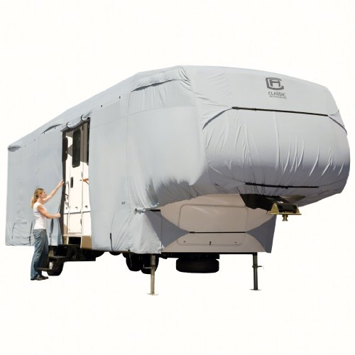 Classic Accessories OverDrive PermaPRO Deluxe 5th Wheel Cover, Fits 20 - 23 RVs - Lightweight Ripstop and Water Repellent RV Cover (80-121-141001-00)