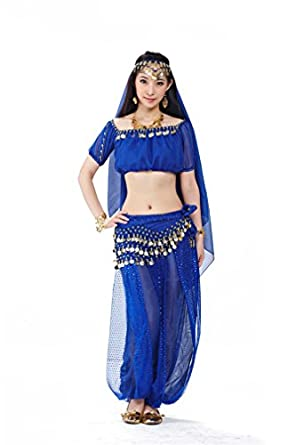 Dreamspell 2014 Dark Blue Belly Dance Costumes Christmas Show Performance