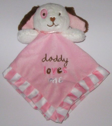 Pink White Brown Puppy Dog Daddy Loves Me Security Blanket Rattle