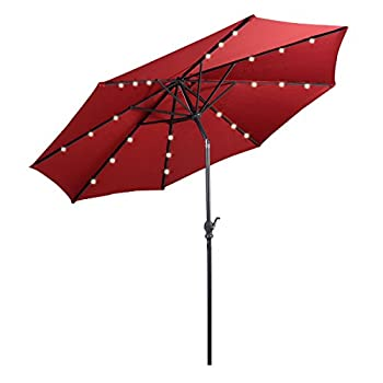 Giantex 10ft Patio Solar Umbrella LED Patio Market Steel Tilt w/ Crank Outdoor (Burgundy)