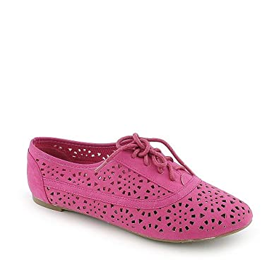 Cambrdige 04 lace Ups Cut Out Oxfords Flats Jazz FUCHSIA 5.5