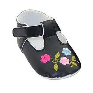 Froomer Zapatos de Niñas Flor Bordado Cuero PU Acogedor Suave Zapato Infantil Preandador Primeros Pasos