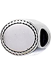 Zable Sterling Silver Engravable Flat Bead
