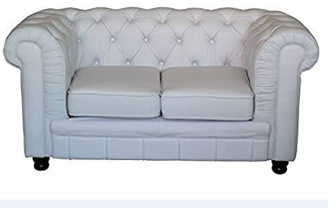 Chesterfield Oxford Sofa 2 Sitzer weiss