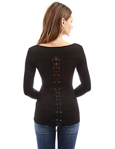 PattyBoutik Women's Scoop Neck Lace Up Back Blouse (Black L) (Plain Black Corset)