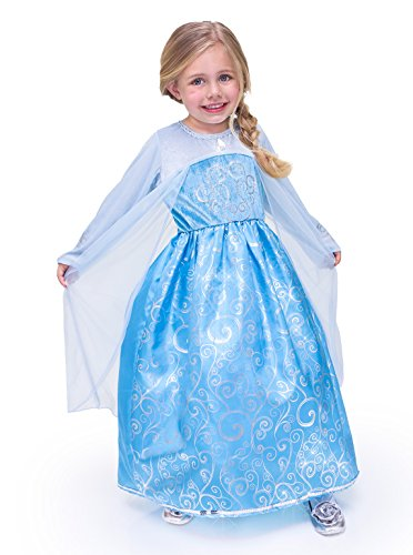 Little Adventures Traditional Ice Princess Girls Machine Washable Dress-up Costume - perfect for Frozen Elsa