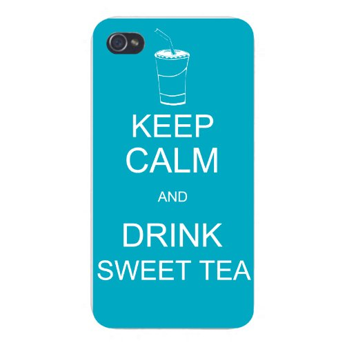 Apple Iphone Custom Case 4 4S White Plastic Snap On - Keep Calm And Drink Sweet Tea