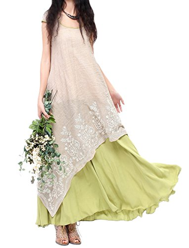 Allbebe Allbebe Cotton Embroidery Fake Two piece Linen Long Dress_XXL_Grey&Green