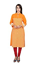 Orange Printed 3/4 Sleeves Kurta