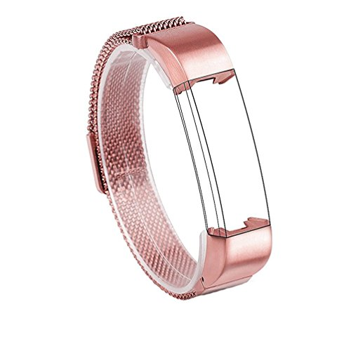 Wearlizer Milanese Loop Bands Replacement Metal Stainless Steel Strap Sport Wristband for Fitbit Alta - Rose Pink Gold