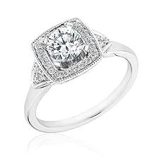 buy Round Diamond Halo Engagement Ring 7/8Ctw - Size 7